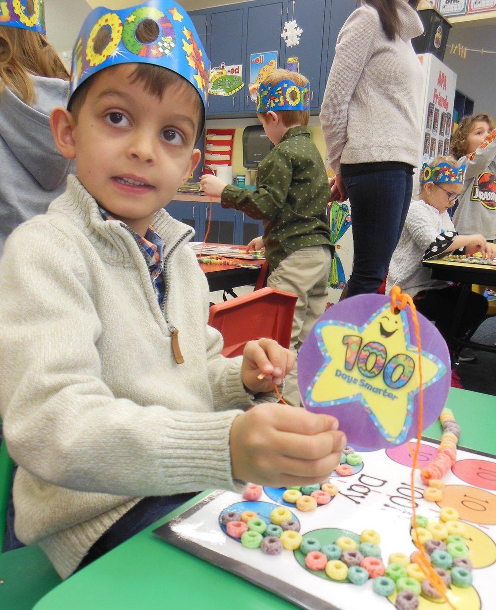 APA kindergartener Graham Parikh celebrates the 100th Day of Kindergarten. Submitted photo