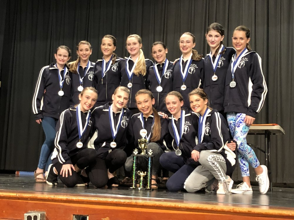 APA's middle school dancers finished first in the jazz-hip-hop category at the NCASA Dance Festival Feb. 9 and second overall. The team consists of, back row, left to right: Mary Frances Fields, Layla Whitfield, Olivia Thomas, Ashelynne Fisher (understudy), Miller Wiggins, Haynes Lewis, Claire Lewis, Bree LaFevers; front row, left to right: Bailey Franklin, Holland Killinger, Hannah Henderson, Mary Neal Cheek, and Hannah Hood. Submitted photo
