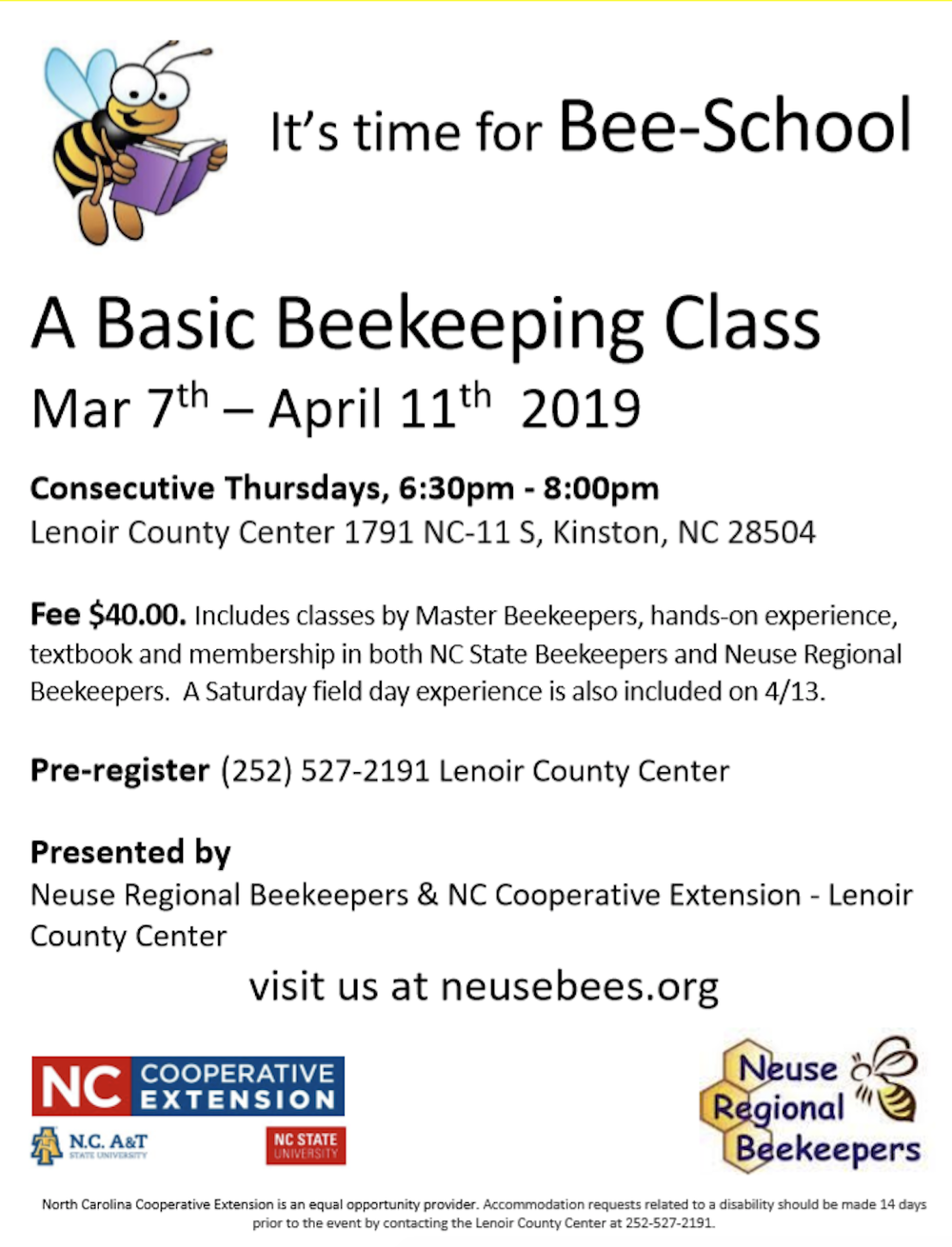 This is a fascinating class if you have any interest in learning more about honey bees and their place in our lives and in nature. Actually, we might not have any food if it weren't for these little, but busy, creatures. Come out and find out about the hierarchy of the bee hive. You will find out why most females would like to be a queen bee!