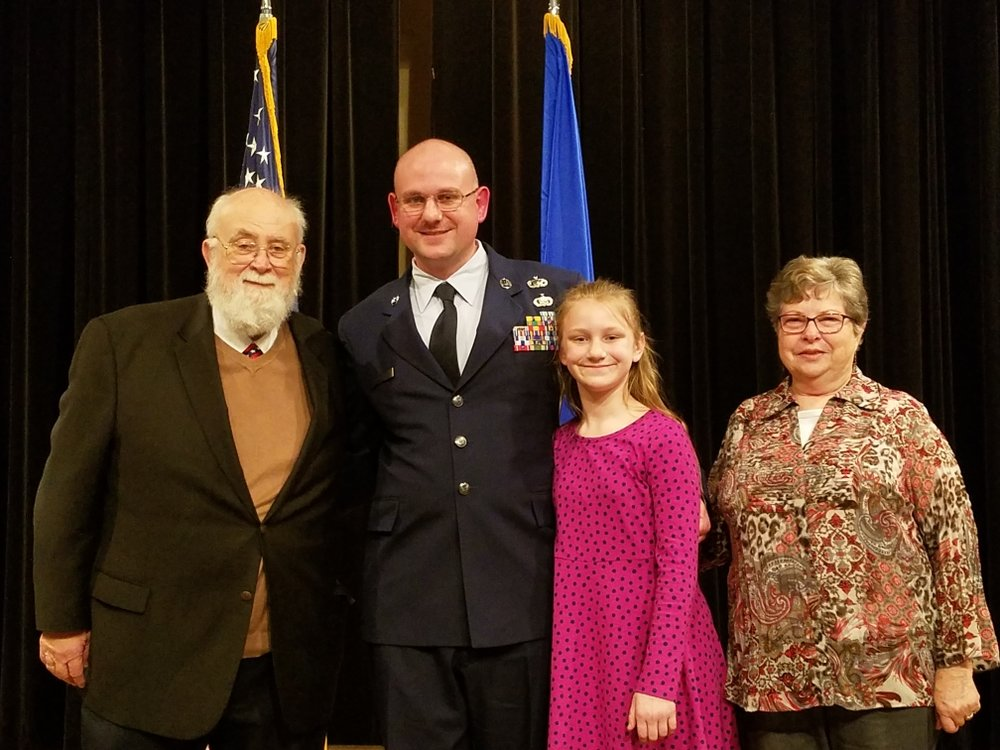 From left, Mike Parker, MSgt John Parker, Izzy Parker and Sandra Parker. Submitted photo