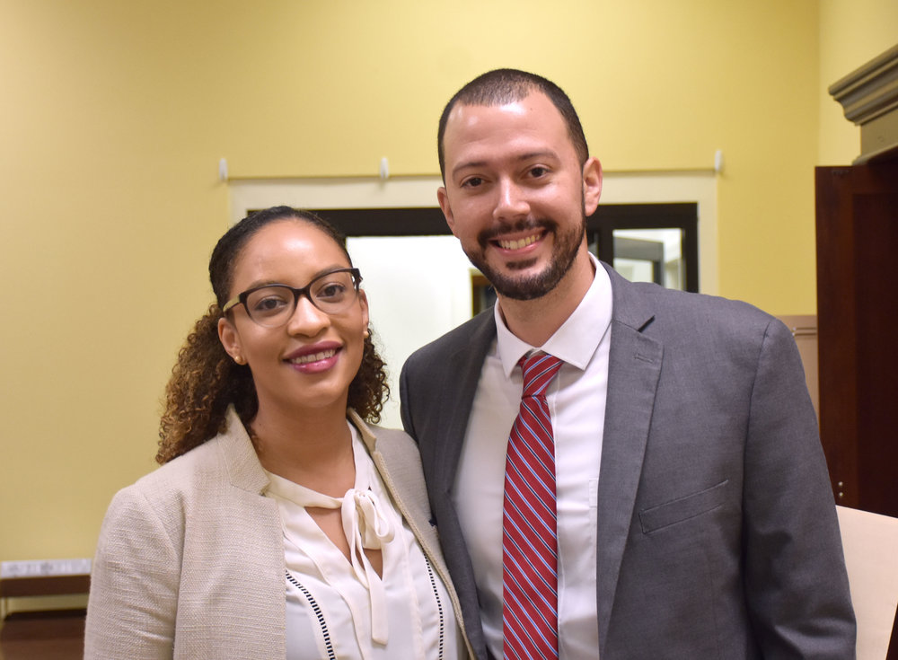 Michael James, right, was named the Lenoir County Manager at Monday's Lenoir County Board of Commissioners meeting. He was named the county manager after a specially-called meeting before the regular meeting. Joining James at the meeting was his girlfriend, Devan Douthit. Photo by Bryan Hanks / Neuse News