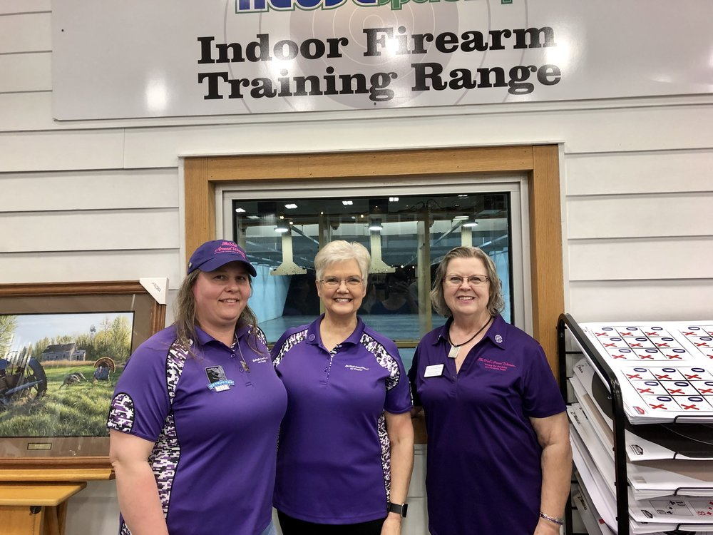 From left, group co-leaders Sherron Kearney, Deborah Johnson and Carolyn Comfort. All three are NRA-certified pistol instructors Photo by Catherine Hardee / Neuse News
