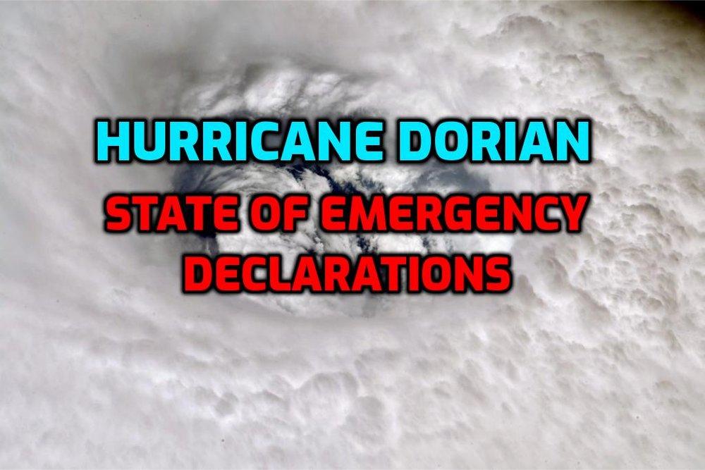 Hurricane Dorian: Local State of Emergency declarations