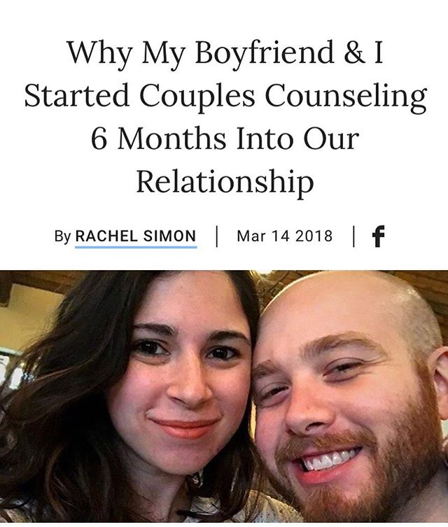 """This article by Bustle editor Rachel Simon illustrates the barriers to and benefits of couples therapy for young couples. I'm so glad she shared her experience and that she and her boyfriend found couples therapy to be """"invaluable"""". It is articles like this that help challenge the stigma of couples therapy and give other Millennials the courage to seek this form of support for their relationships. 👏🏻 @bustle"""
