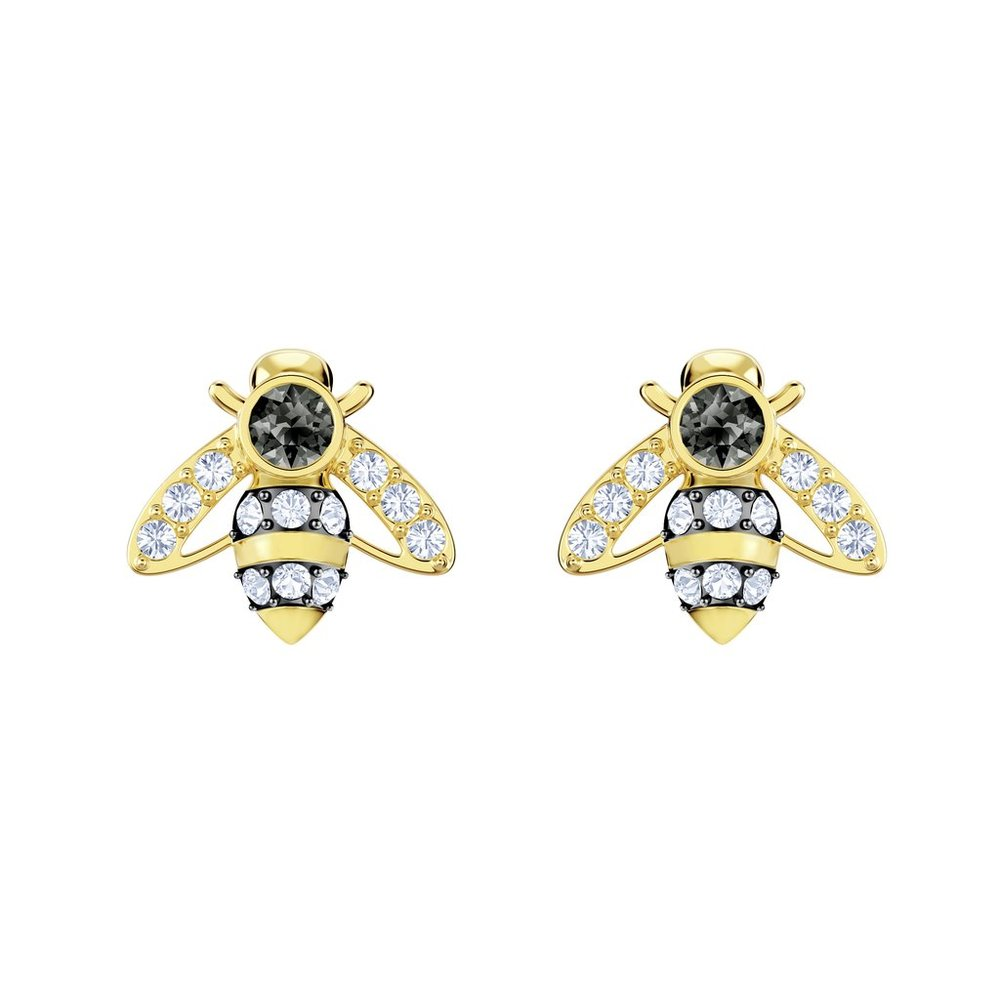 94e0e28e072935 Magnetic Bee Stud Pierced Earrings, Gray, Gold Plate