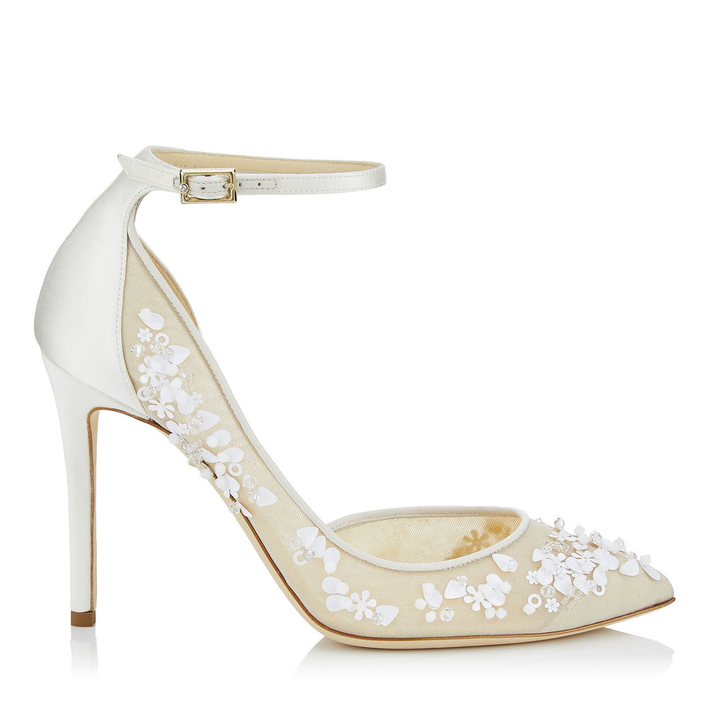 2ac2bb8fd LUCY 100 | Ivory Mix Satin and Mesh Pointy Toe Pumps with Sequin Embroidery