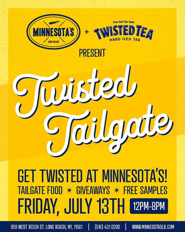 Come get twisted at Minnesota's for our Twisted Tailgate party! We'll be servin' up the best tailgate food and drinks, giveaways, and free samples. 12- 8 pm TODAY! • • • • • #minnesotaslb #longbeach #drinks #beers #lunch #dinner #beach #sun #dinner #eeeeeats #livemusic #DJ #dancing #onthewater