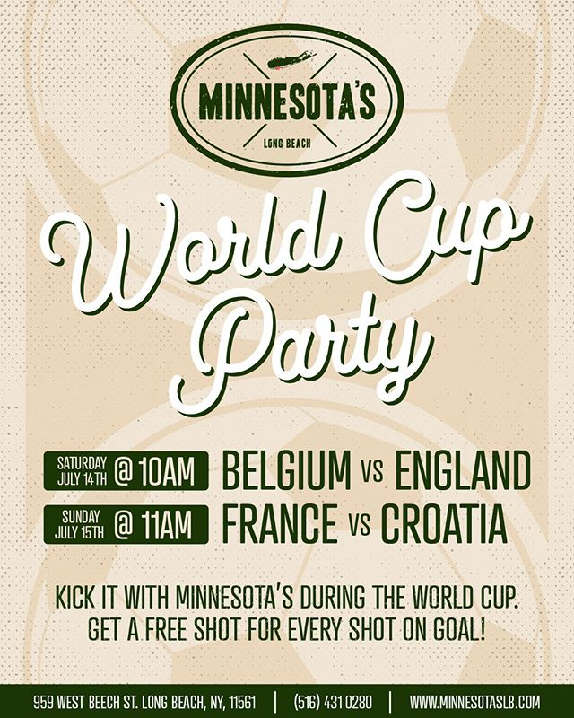 We're kickin' it at Minn's for the World Cup! Saturday and Sunday at 11 am, we'll have the games on and we're giving away shots for every shot on goal! Come on down! • • • • • #minnesotaslb #longbeach #drinks #beers #lunch #dinner #beach #sun #dinner #eeeeeats #livemusic #DJ #dancing #onthewater #worldcup #soccer