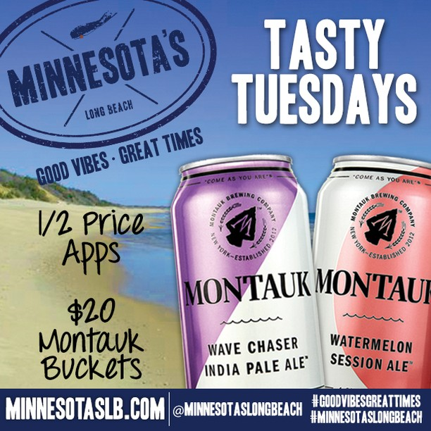 Tasty Tuesdays are here and sure are tasty! Get ½ priced appetizers and $20  Montauk Buckets! • • • • • #minnesotaslb #longbeach #drinks #beers #lunch #dinner #beach #sun #dinner #eeeeeats #livemusic #DJ #dancing #onthewater