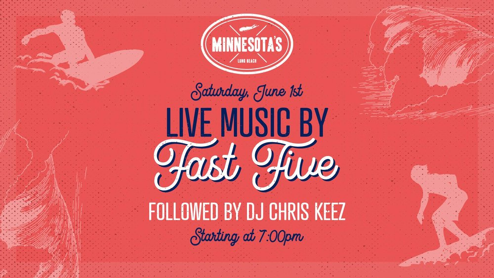 flyer for live music by fast five at minnesotas on june 1st at 7pm