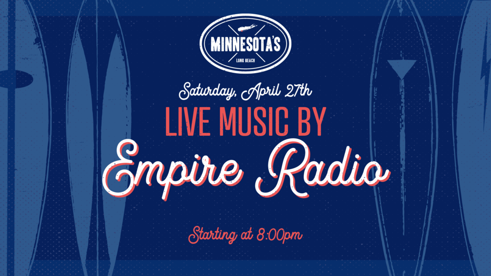 Flyer for live music with Empire Radio on April 27th at 8 PM
