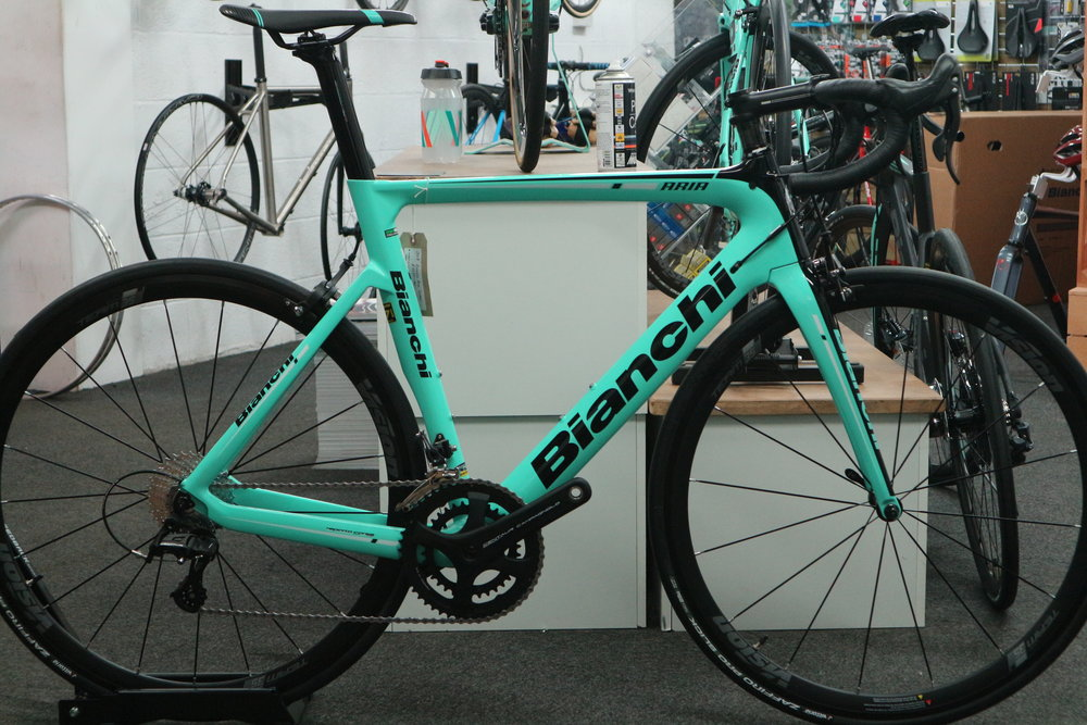 RRP £2250 Sale Price £1800   Comes with a free bike fit and first free service.   Spec.   Bianchi Aria 57cm   Campagnolo Centaur groupset  Vision Team 30 wheelset   VIttoria Zaffiro tyres   San Marco saddle   Fsa Wing bar  Bianchi stem