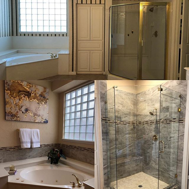 What a great before/after photo of a bathroom we recently finished up!  We were able to turn this customers bathroom from drab to fabulous. We added dynamics to the tub surround, while also bringing a sense of elegance to the shower walls and frame.  #bathroomremodel #beforeafter #tile #richardsontx #planotx #friscotx #mckinneytx #allentx #dallas