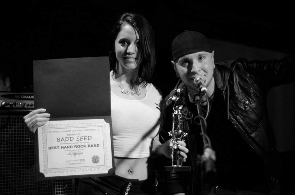 Chrystal Nicole & Rich Allen present an award to Badd Seed.  *Photo Credit: Glimpse Magazine