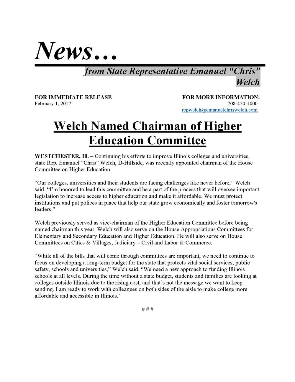 Welch Named Chairman of Higher Education Committee  (February 1, 2017)
