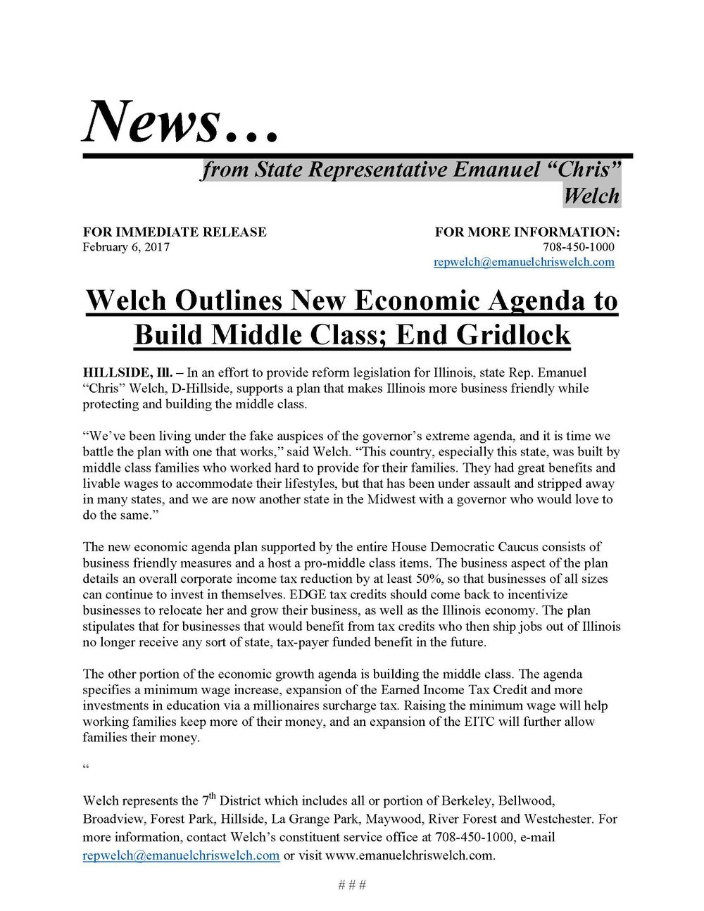Welch Outlines New Economic Agenda to Build Middle Class; End Gridlock  (February 6, 2017)