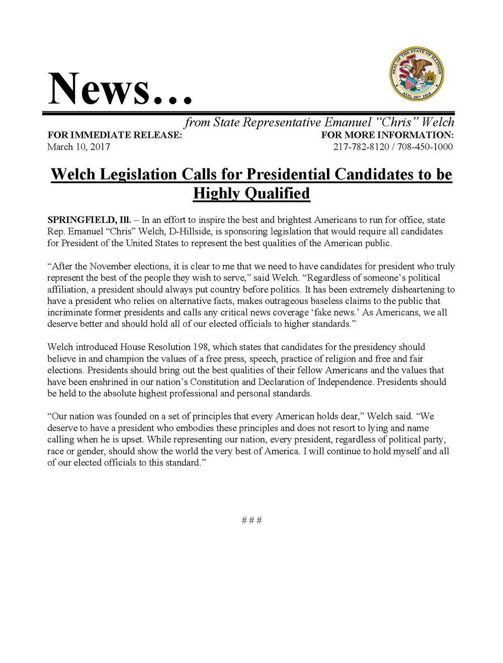 Welch Legislation Calls for Presidential Candidates to be Highly Qualified  (March 10, 2017)