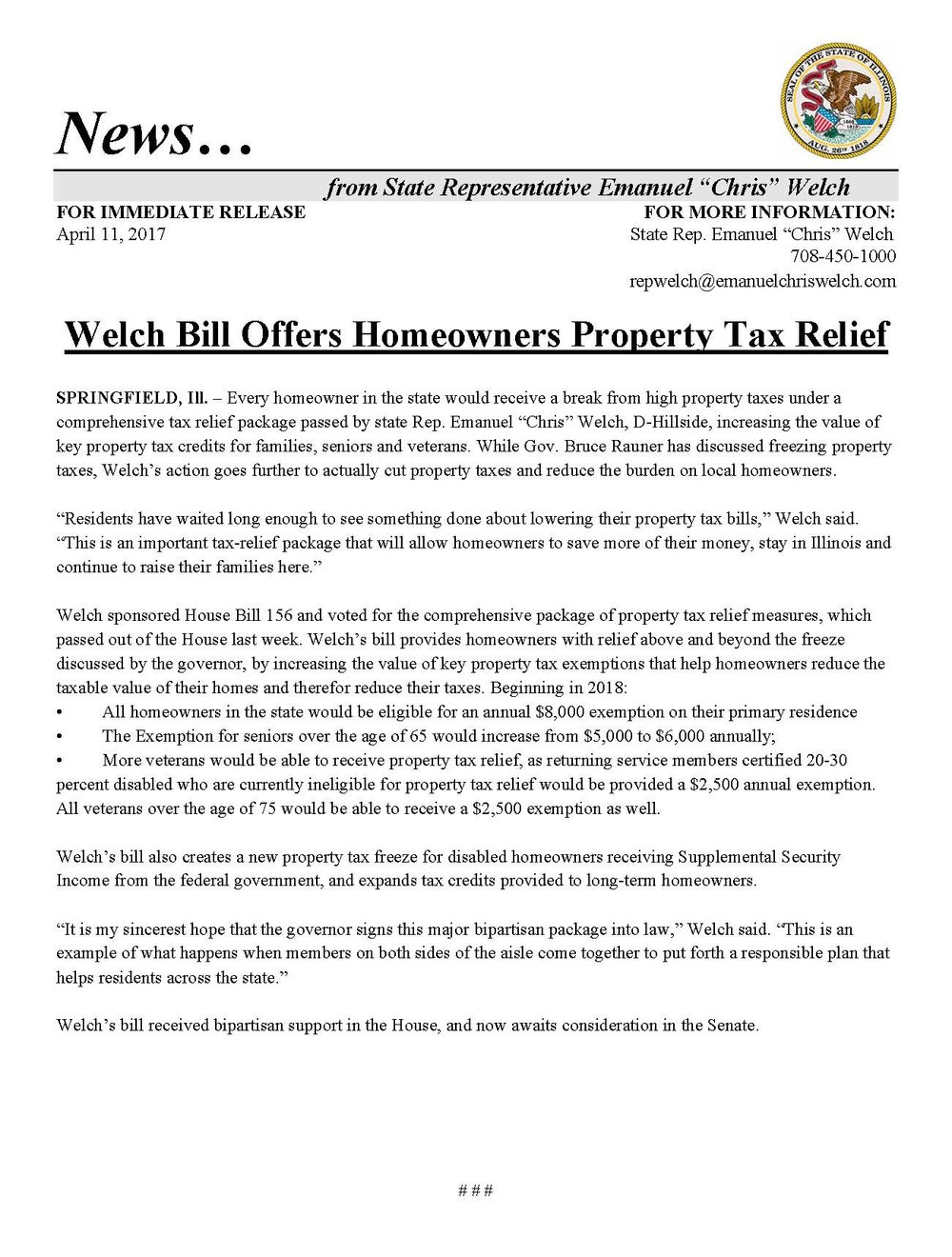 Welch Bill Offers Homeowners Property Tax Relief  (April 11, 2017)