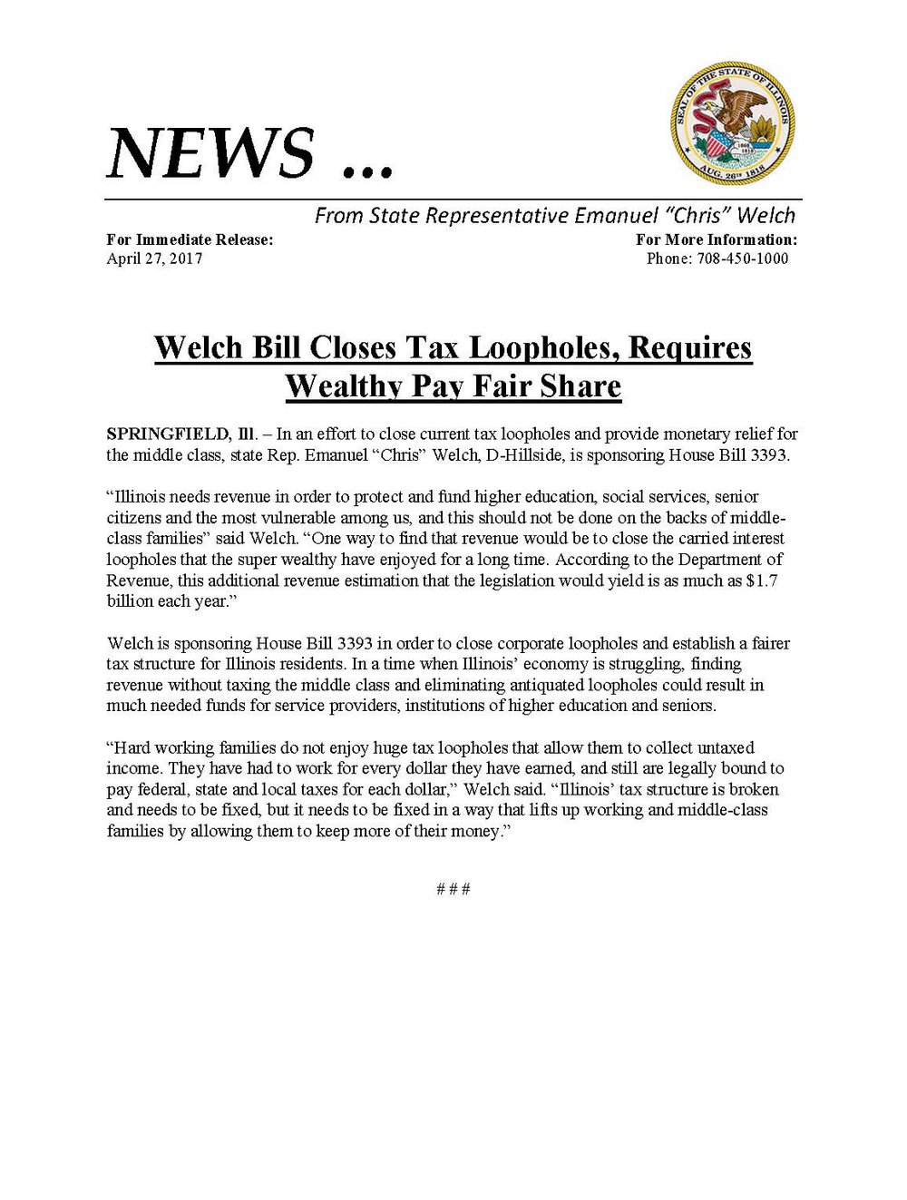 Welch Bill Closes Tax Loopholes  (April 27, 2017)