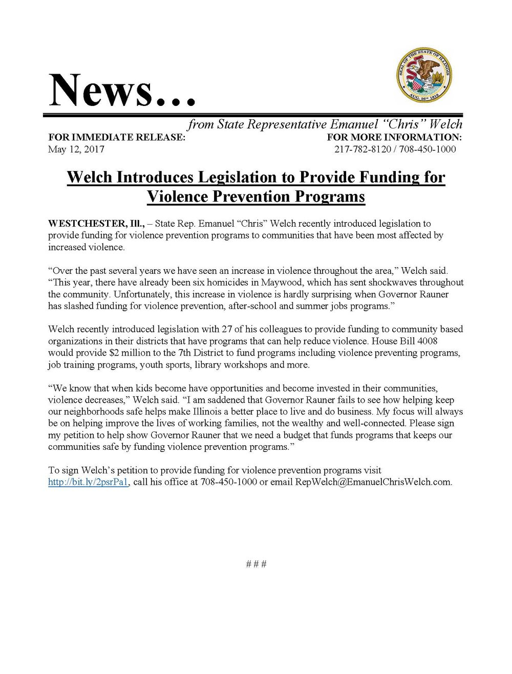 Welch Introduces Legislation to Provide Funding for Violence Prevention Programs  (May 12, 2017)