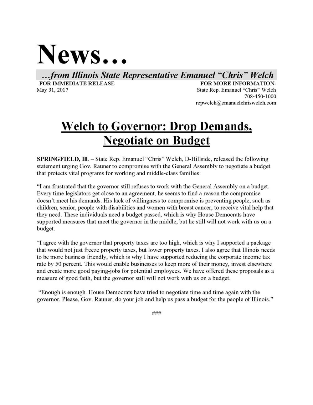Welch to Governor: Drop Demands, Negotiate on Budget  (May 31, 2017)