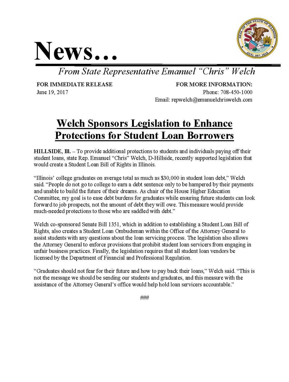 Welch Sponsors Legislation to Enhance Protections for Student Loan Borrowers  (June 19, 2017)
