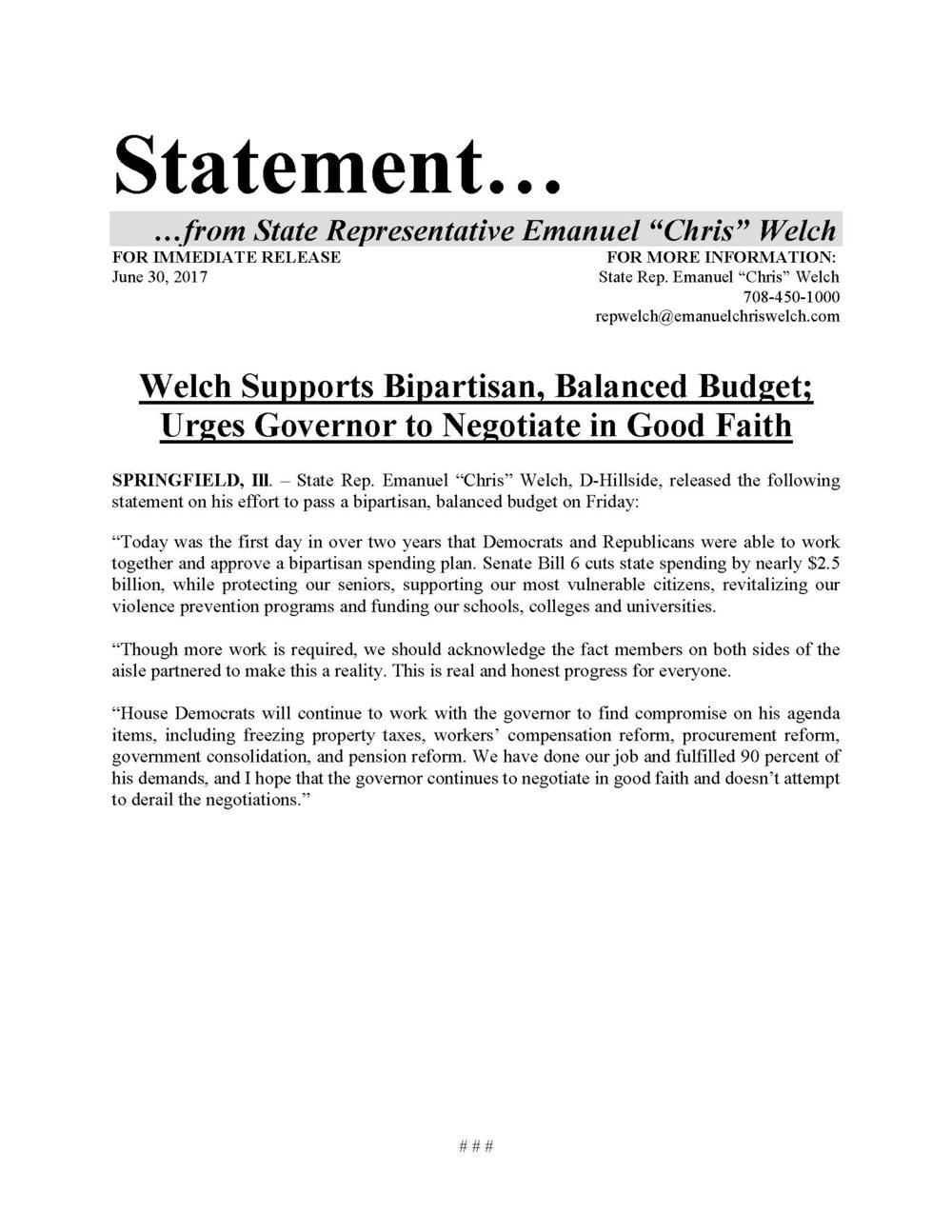 Welch Supports Bipartisan, Balanced Budget  (June 30, 2017)