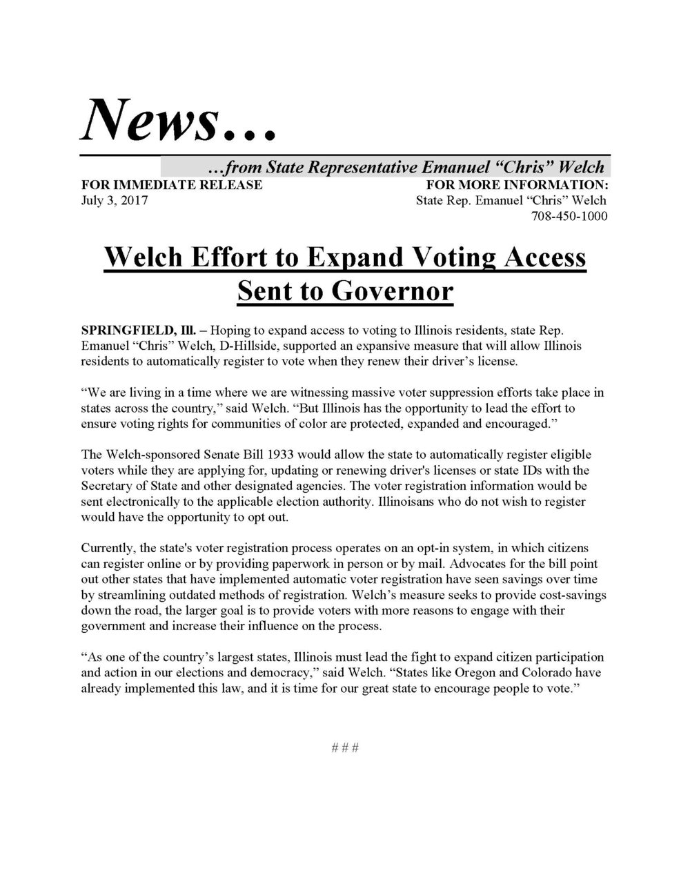 Welch Effort to Expand Voting Access Sent to Governor  (July 3, 2017)