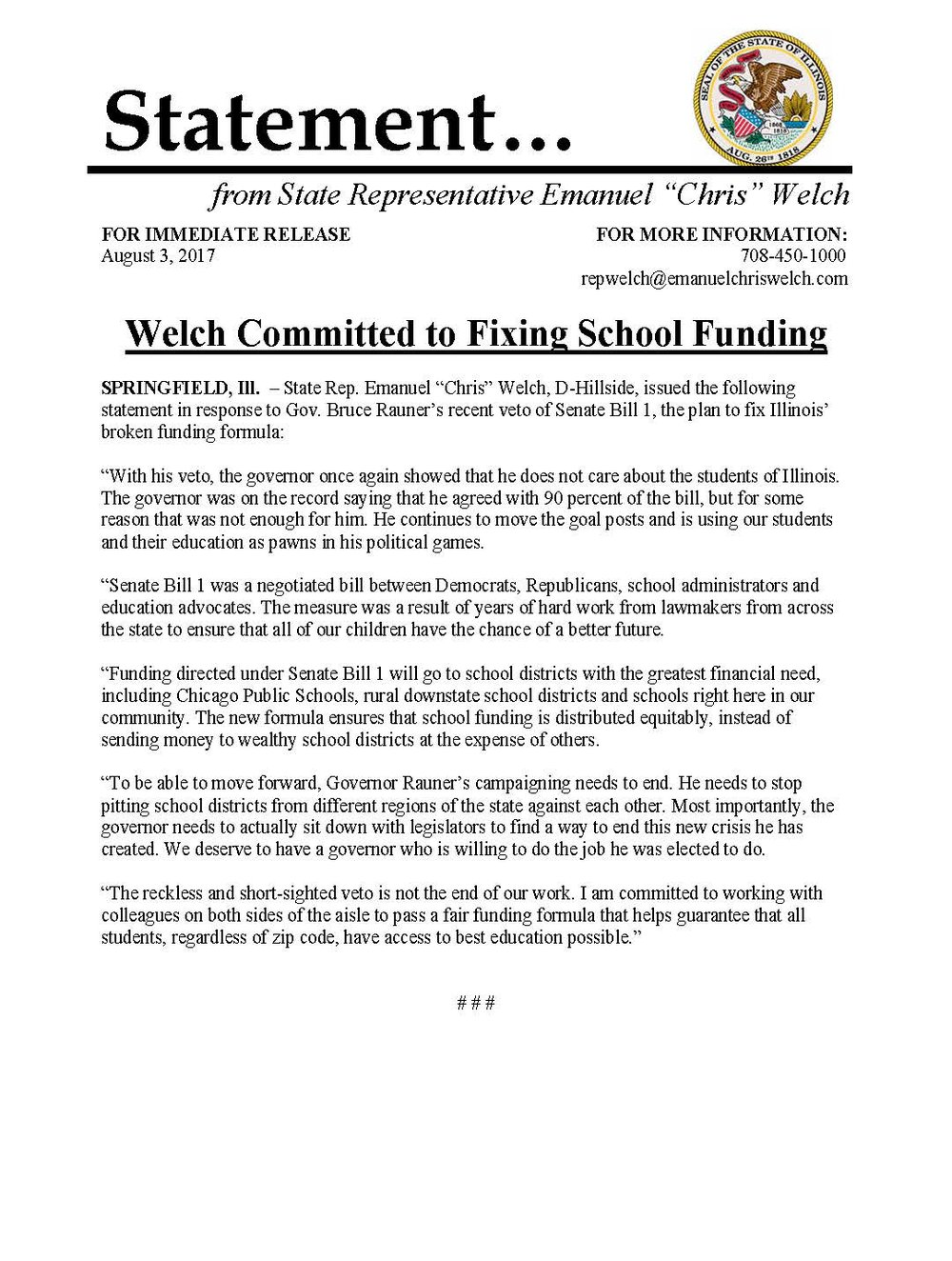 Welch Committed to Fixing School Funding  (August 3, 2017)