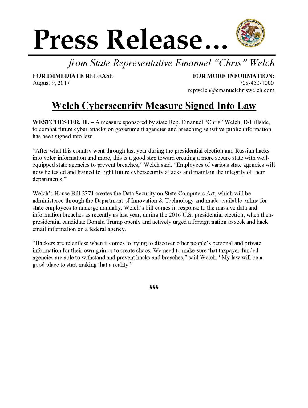 Welch Cybersecurity Measure Signed into Law  (August 9, 2017)