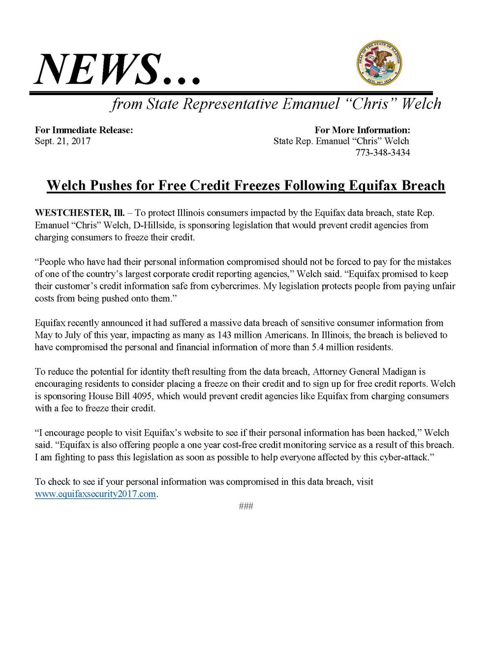 Welch Pushes for Free Credit Freezes Following Equifax Breach  (September 1, 2017)