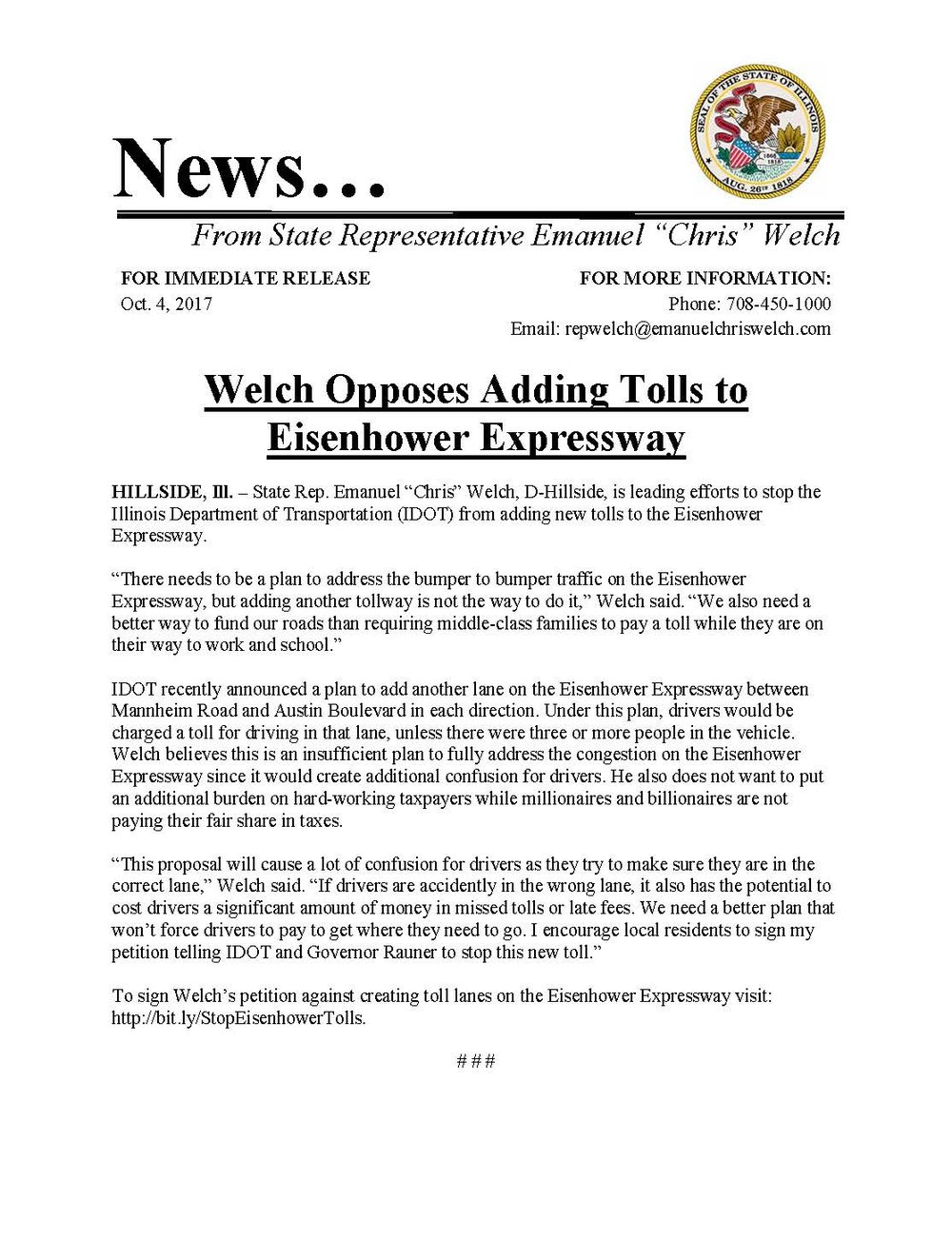 Welch Opposes Adding Tolls to Eisenhower Expressway  (October 4, 2017)