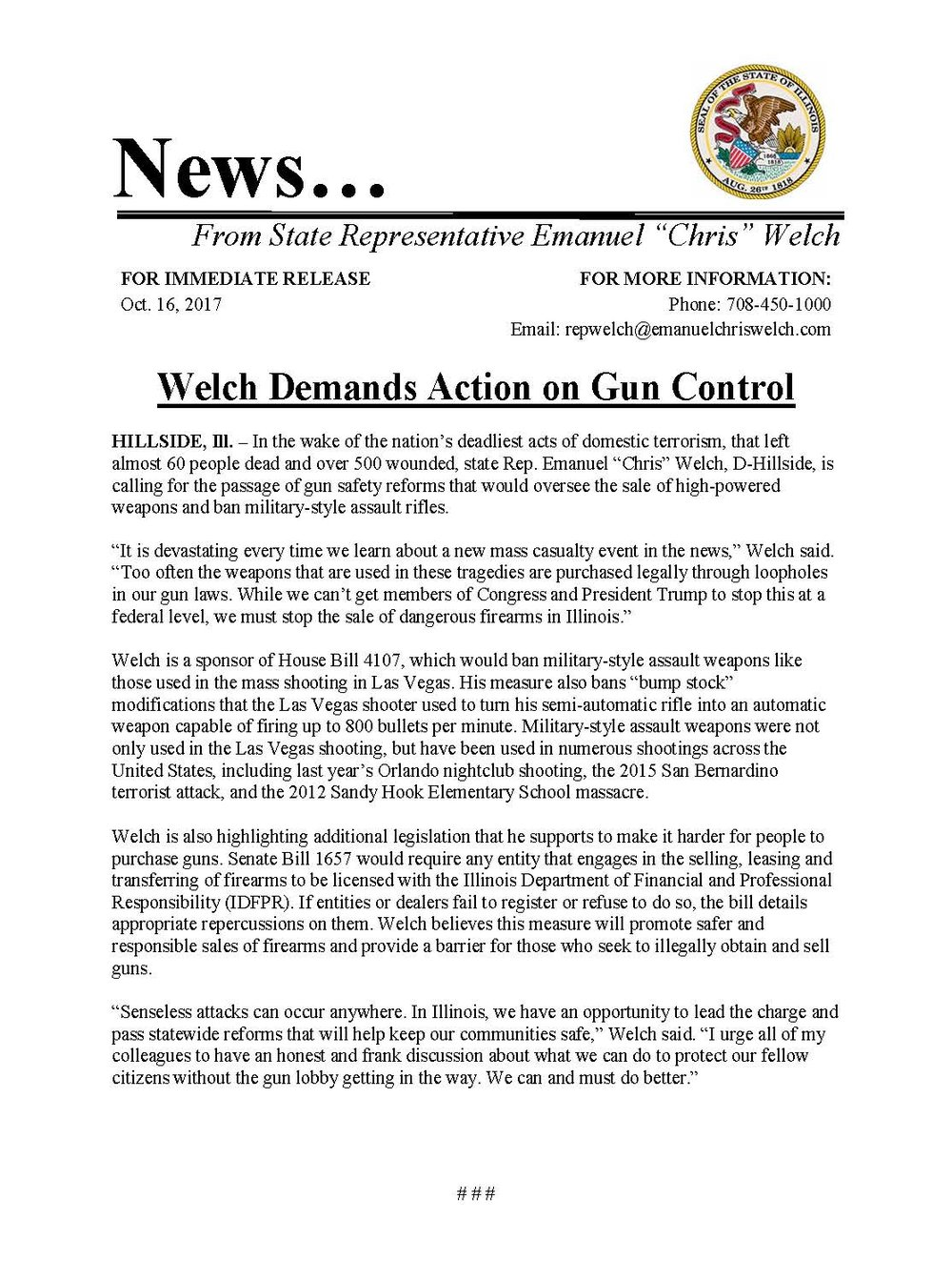 Welch Demands Action on Gun Control  (October 16, 2017)