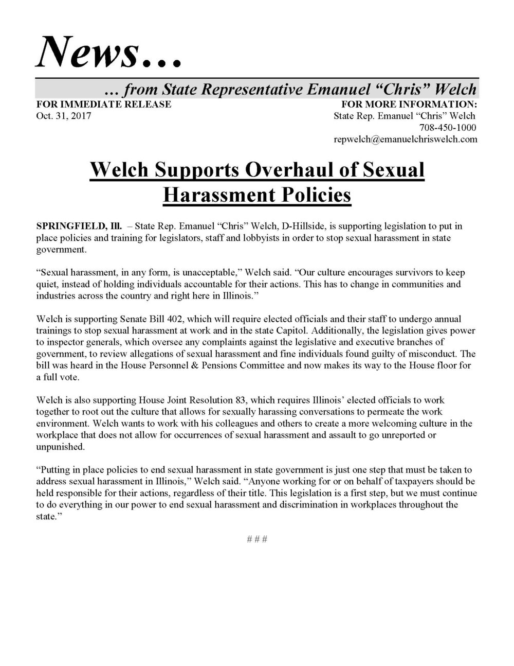 Welch Supports Overhaul of Sexual Harassment Policies  (October 31, 2017)