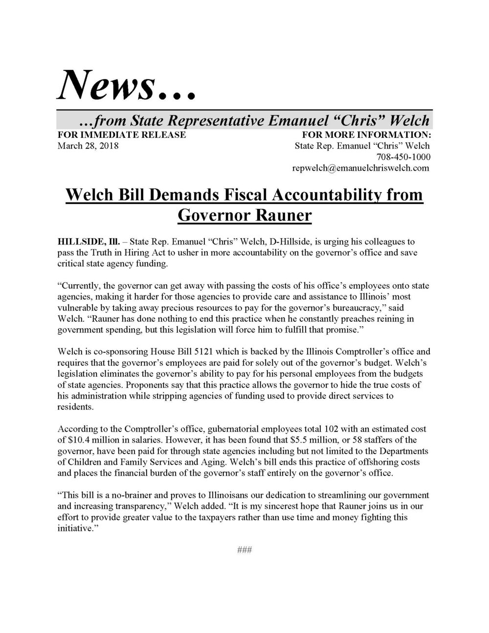 Welch Bill Demands Fiscal Accountability  (March 28, 2018)