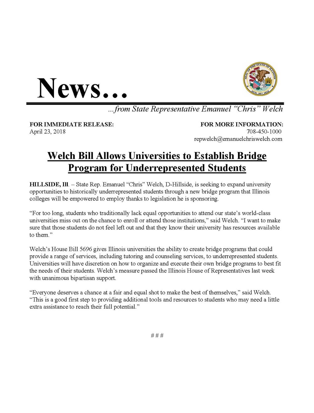 Welch Bill Allows Universities to Establish Bridge Program for Underrepresented Students  (April 23, 2018)