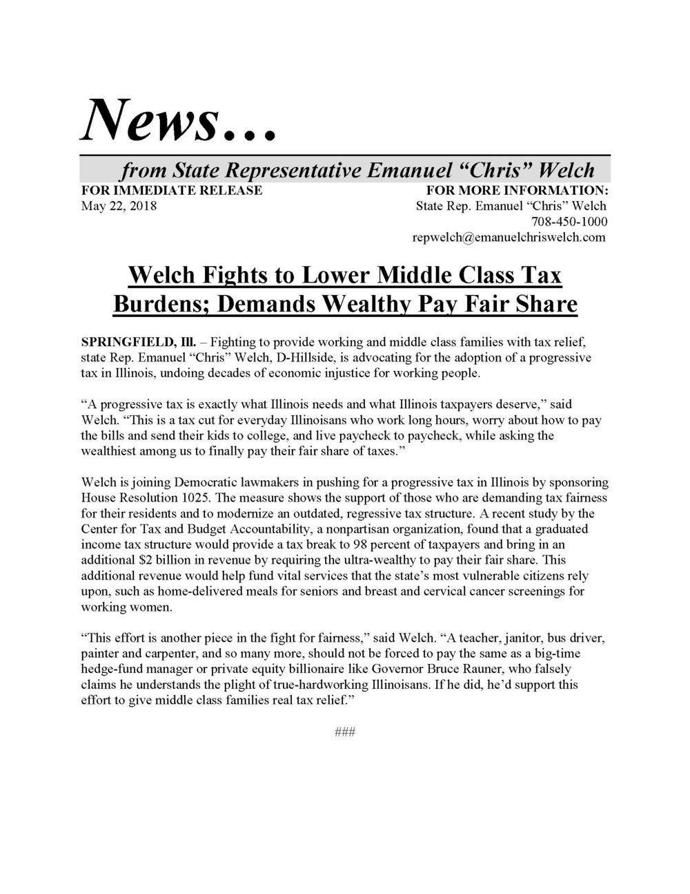 Welch Fights to Lower Middle Class Tax Burdens  (May 22, 2018)