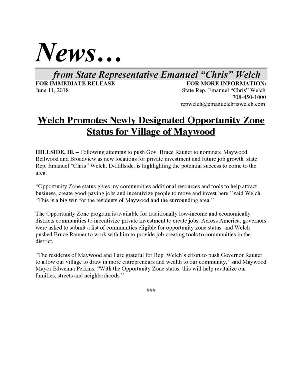 Welch Promotes Newly Designated Opportinity Zone Status for Village of Maywood  (June 11, 2018)