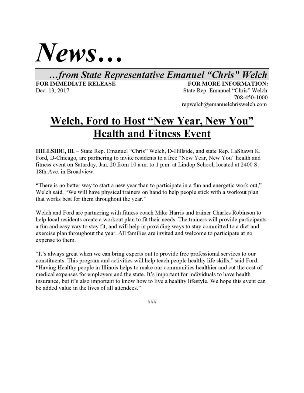 "Welch, Ford to Host ""New Year, New You"" Health and Fitness Event  (December 13, 2017)"