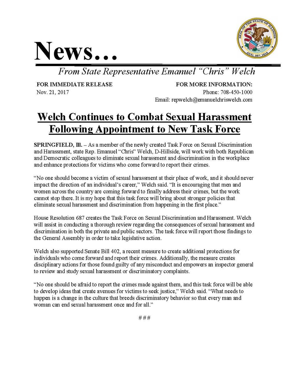 Welch Continues to Combat Sexual Harassment  (November 21, 2017)
