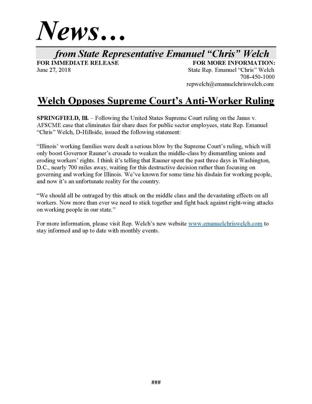 Welch Opposes Supreme Court's Anti-Worker Ruling  (June 27, 2018)
