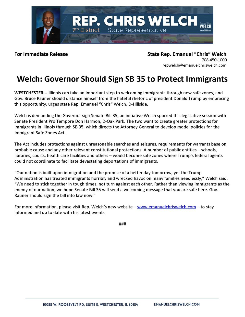 Welch:   Governor Should Sign SB 35 to Protect Immigrants  (July 20, 2018)