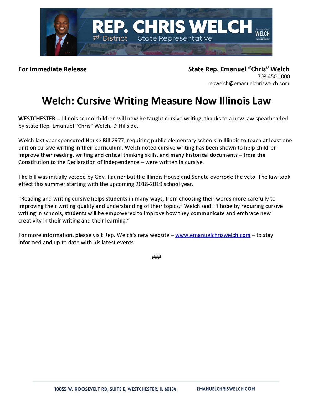 Welch: Cursive Writing Measure Now Illinois Law   (August 3, 2018)