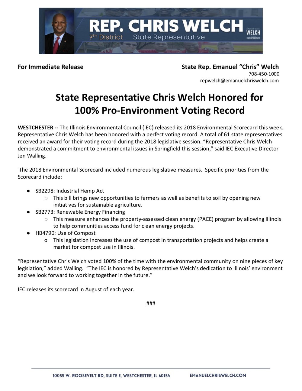State Representative Chris Welch Honored for 100% Pro-Environment Voting Record  (August 13, 2018)