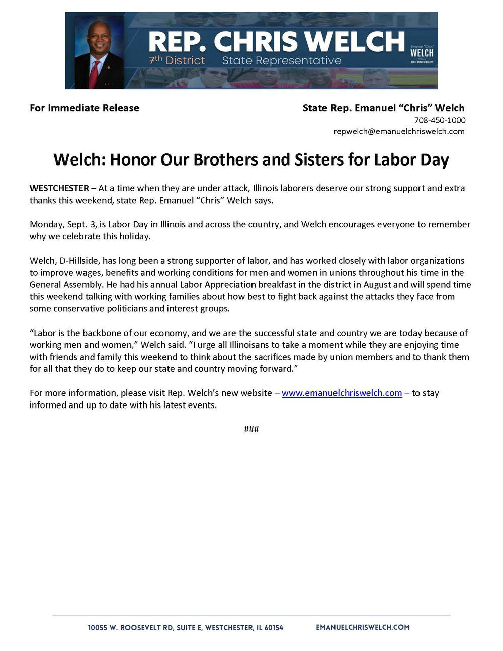 Honor Our Brothers and Sisters for Labor Day   (August 31, 2018)