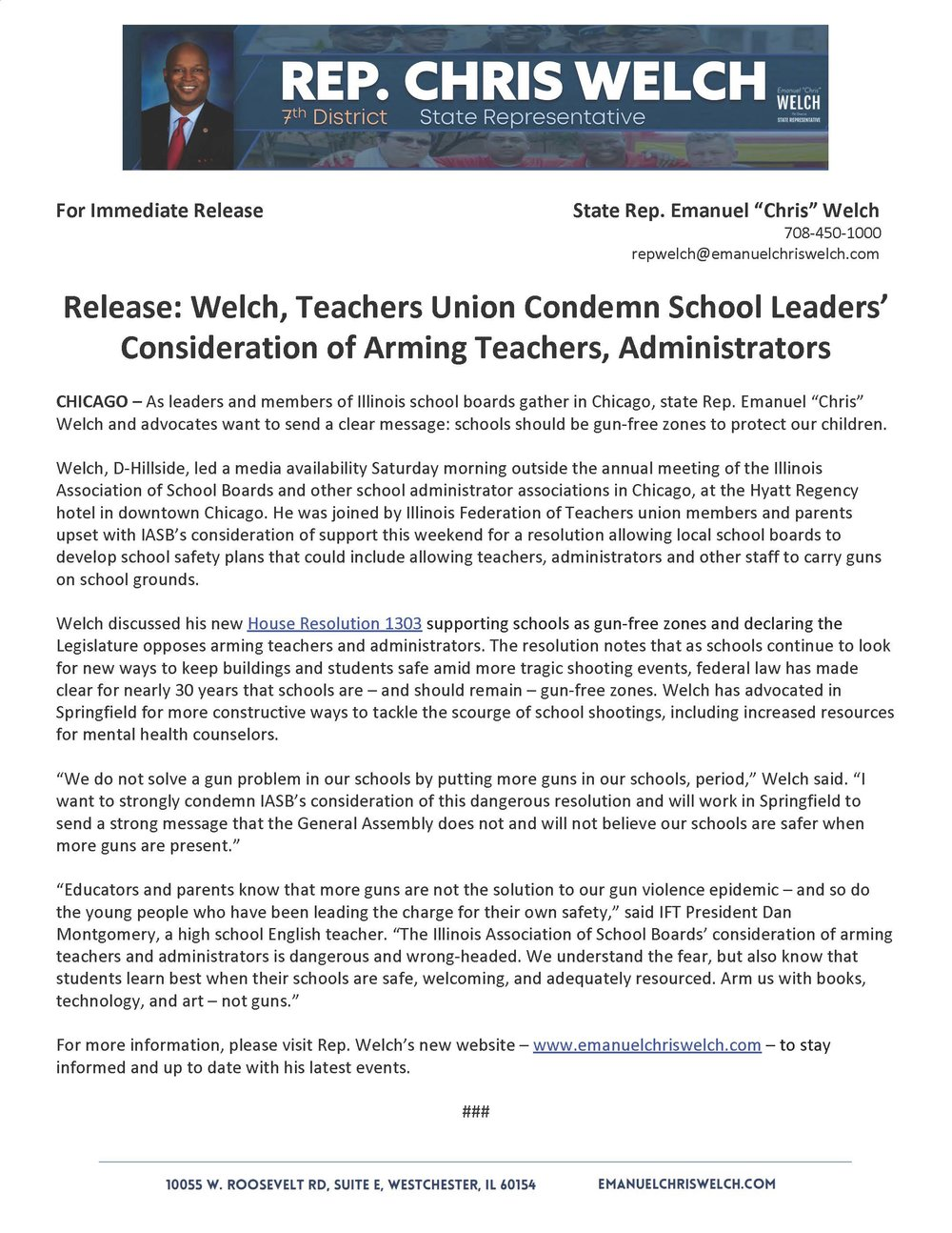 Welch, Teachers Union Condemn School Leaders' Consideration of Arming Teachers, Administrators  (November 17, 2018)