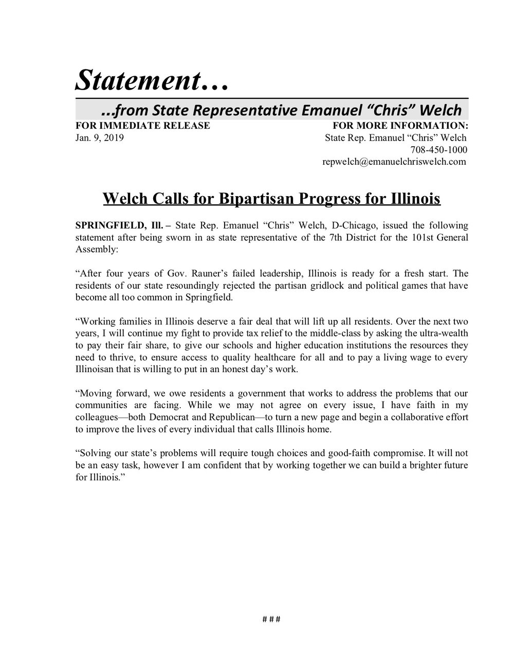 Statement: Welch Calls for Bipartisan Progress for Illinois  (January 9, 2019)