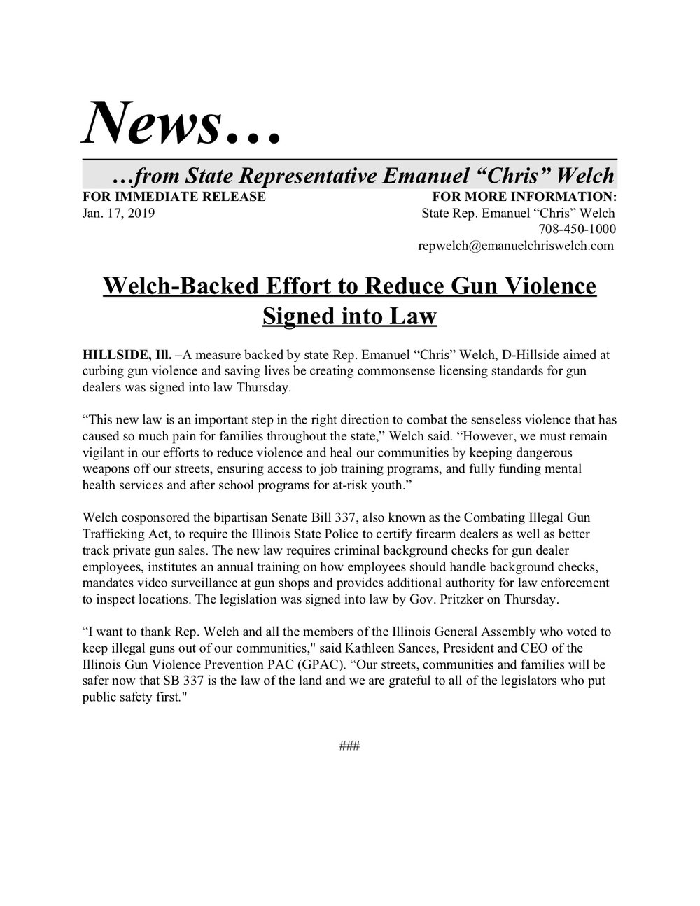 Welch-Backed Effort to Reduce Gun Violence Signed into Law  (January 17, 2019)