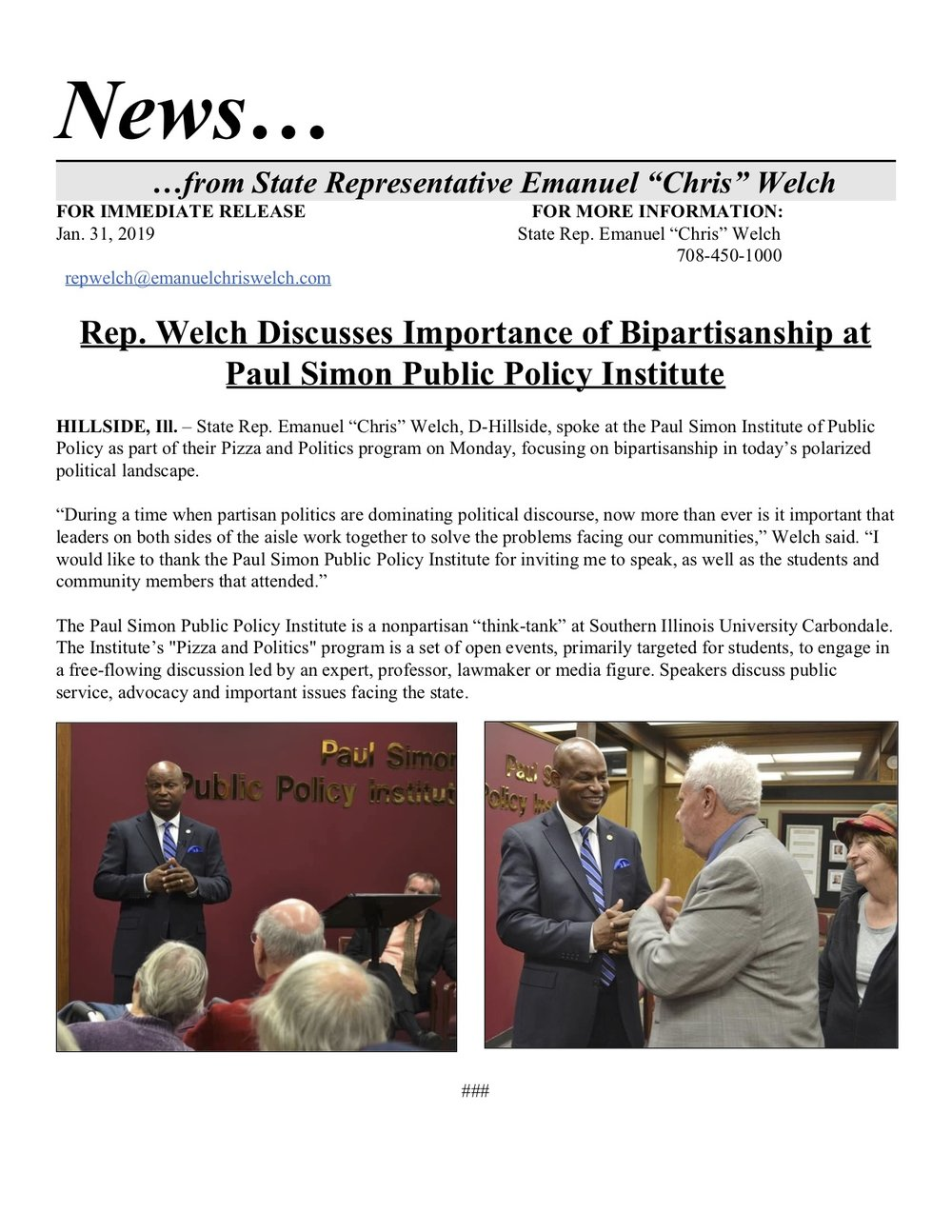 Rep. Welch Discusses Importance of Bipartisanship at Paul Simon Public Policy Institute  (January 31, 2019)