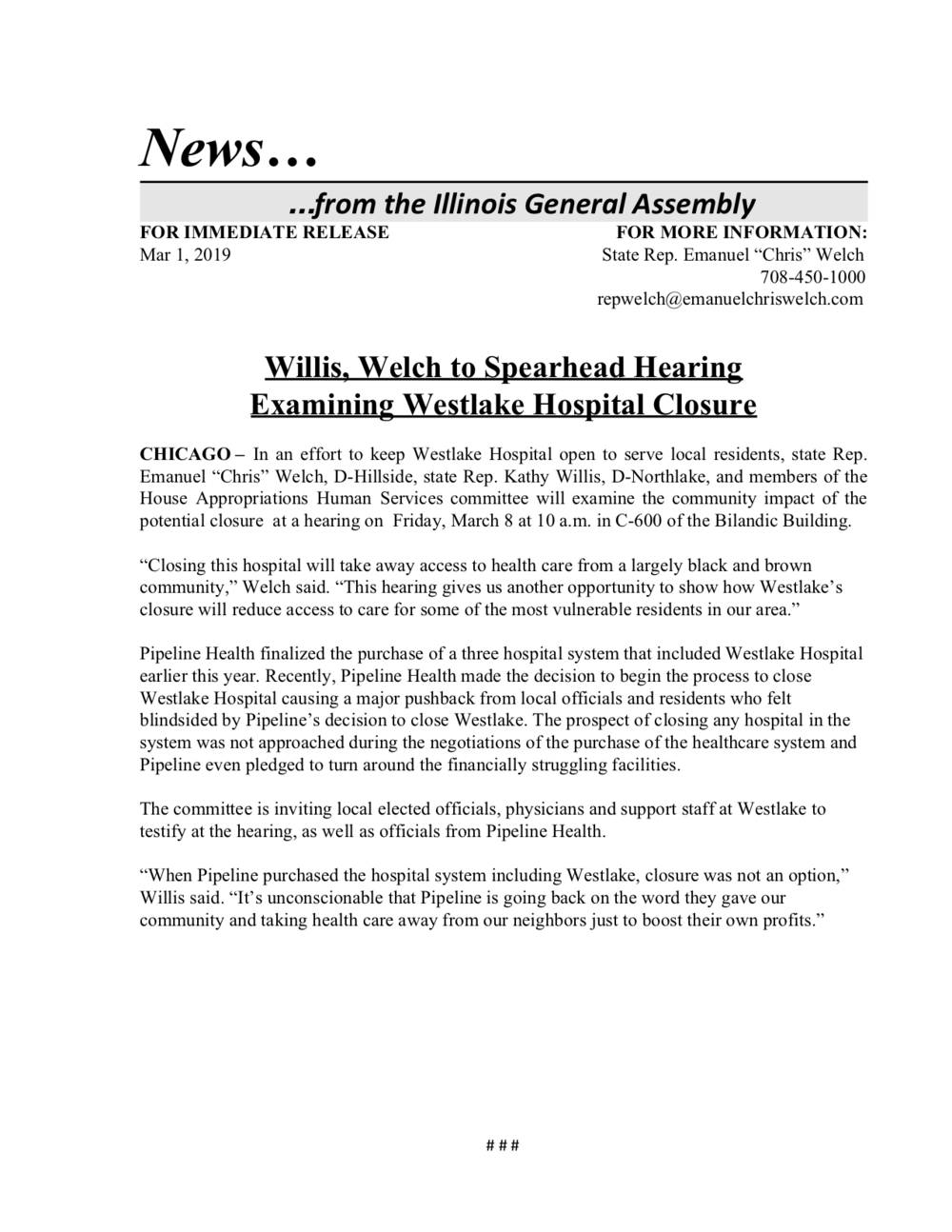 Willis, Welch to Spearhead Hearing Examining Westlake Hospital Closure  (March 1, 2019)